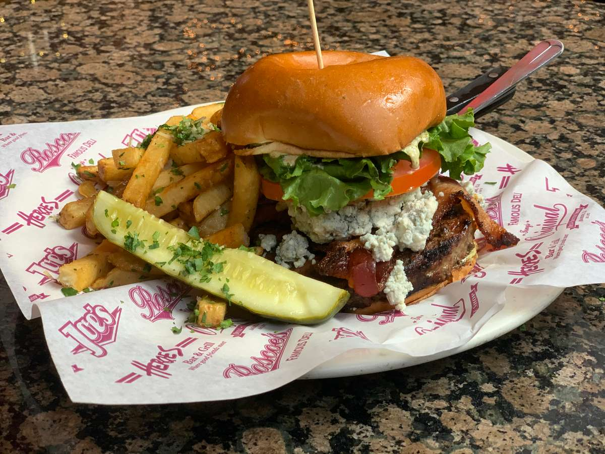 Black and Bleu Bacon Burger