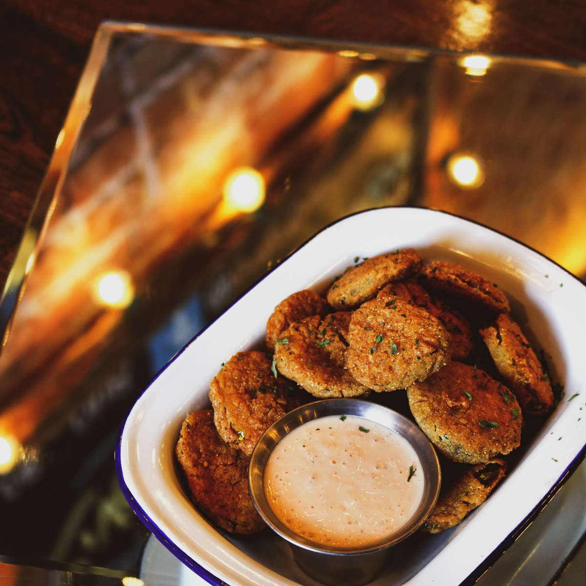 Fried Pickles with Sriracha Ranch Dipping Sauce
