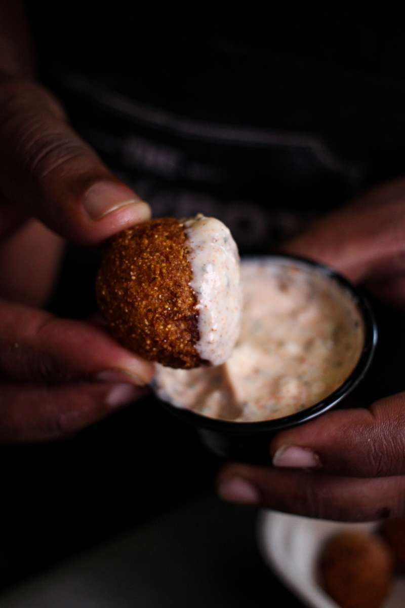 hush puppy with dipping sauce