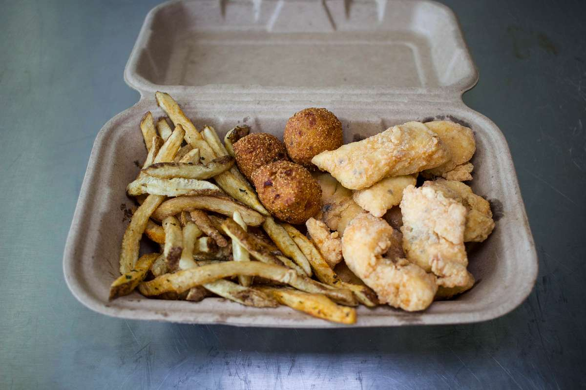 fried fish, fries and hush puppies