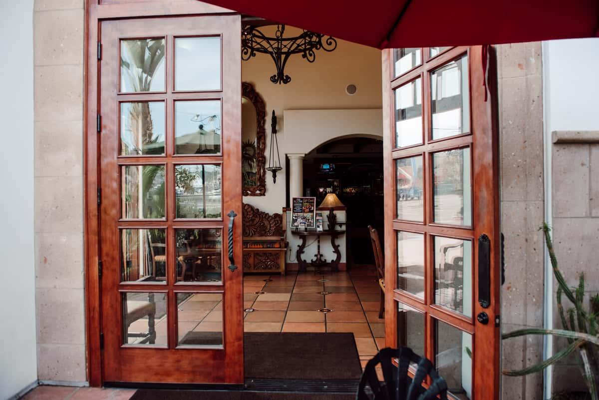 open door to restaurant