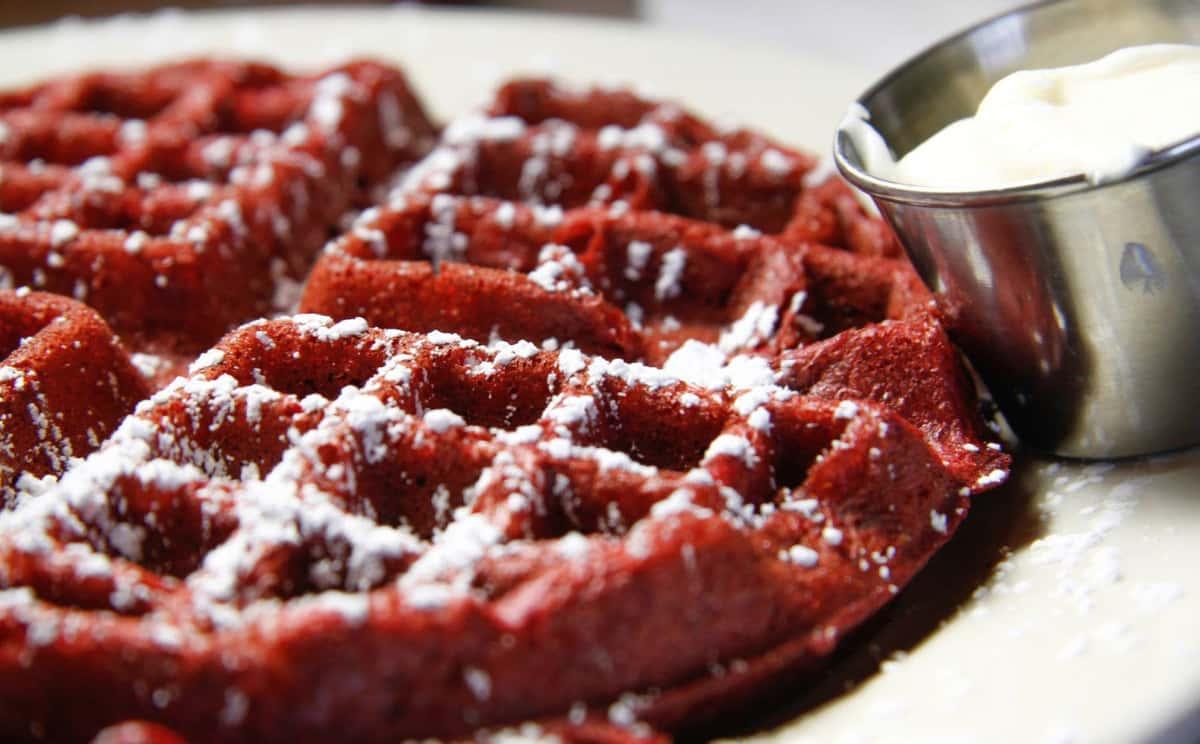 closeup of red velvet waffle