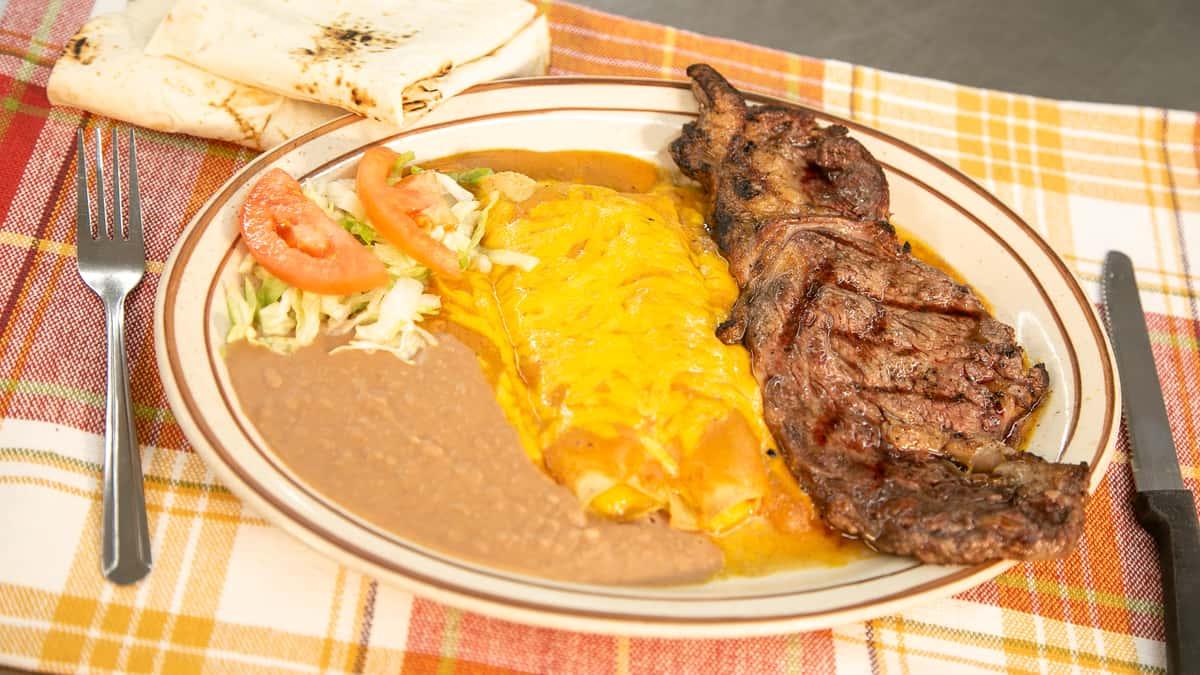 steak and enchiladas