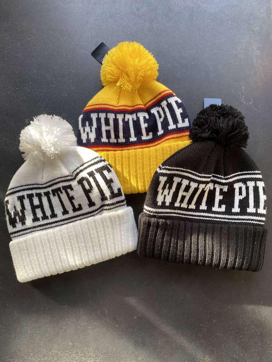 White Pie Pom Beanie