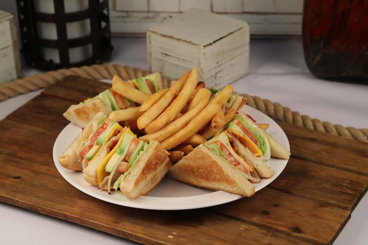 66. Club Sandwich With French Fries