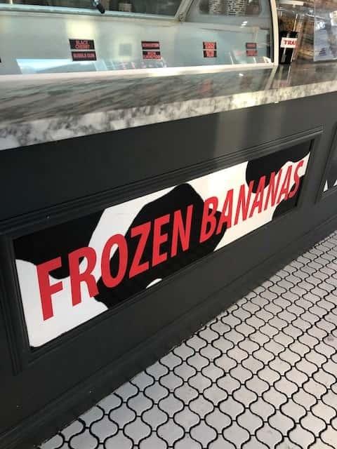 frozen bananas sign
