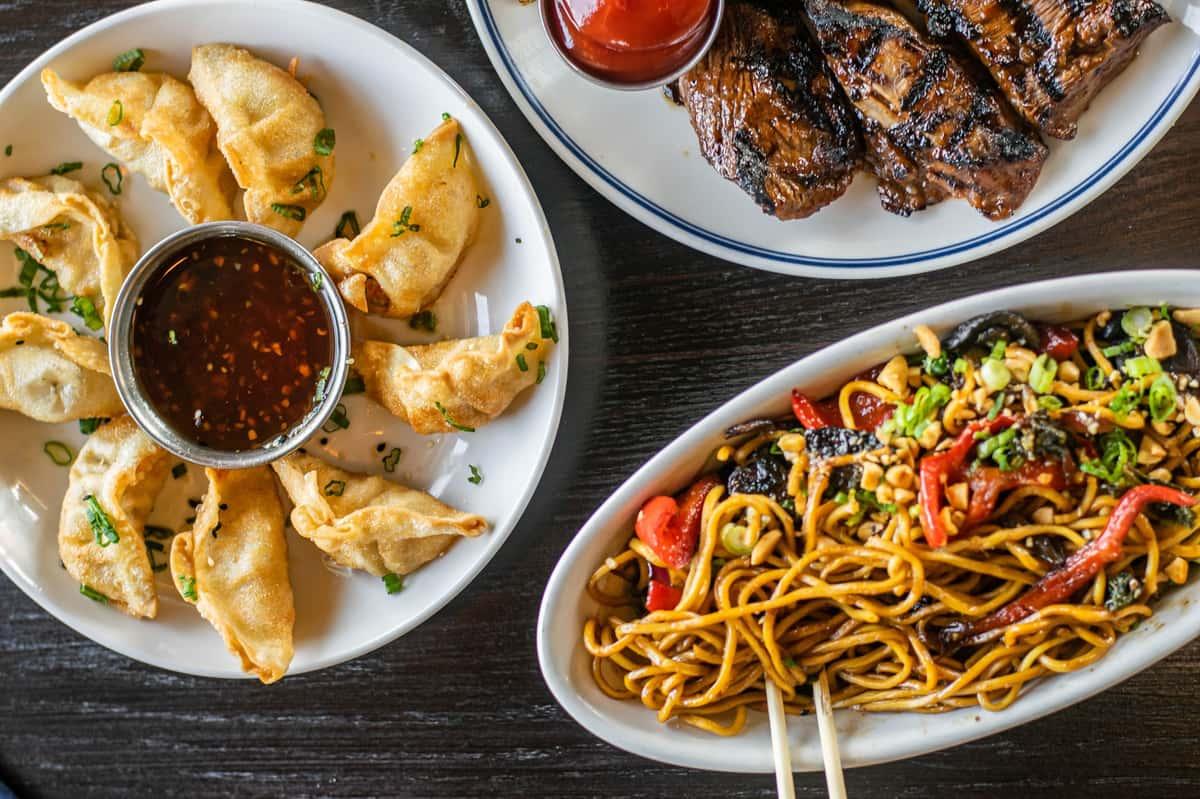 Wings, noodles, and dumplings