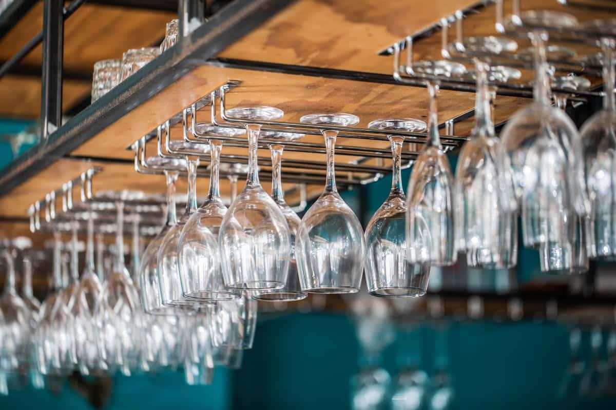 wine glasses on rack