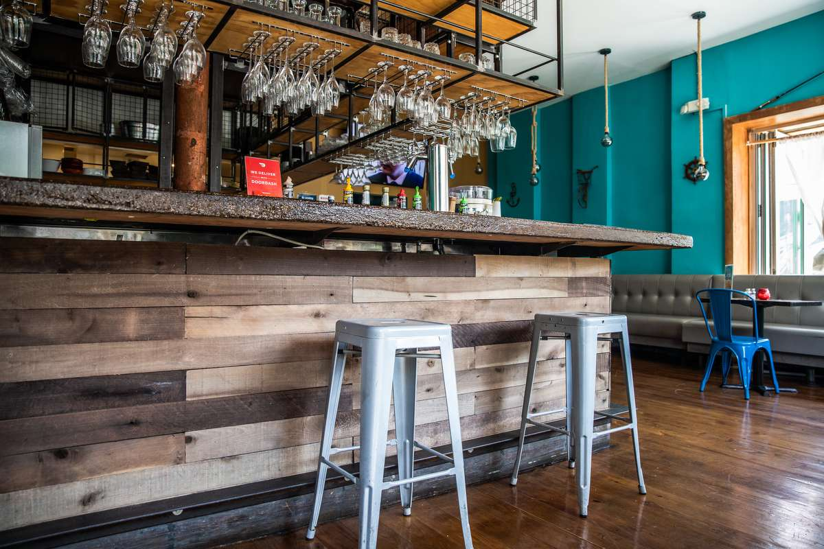 the bar and interior seating