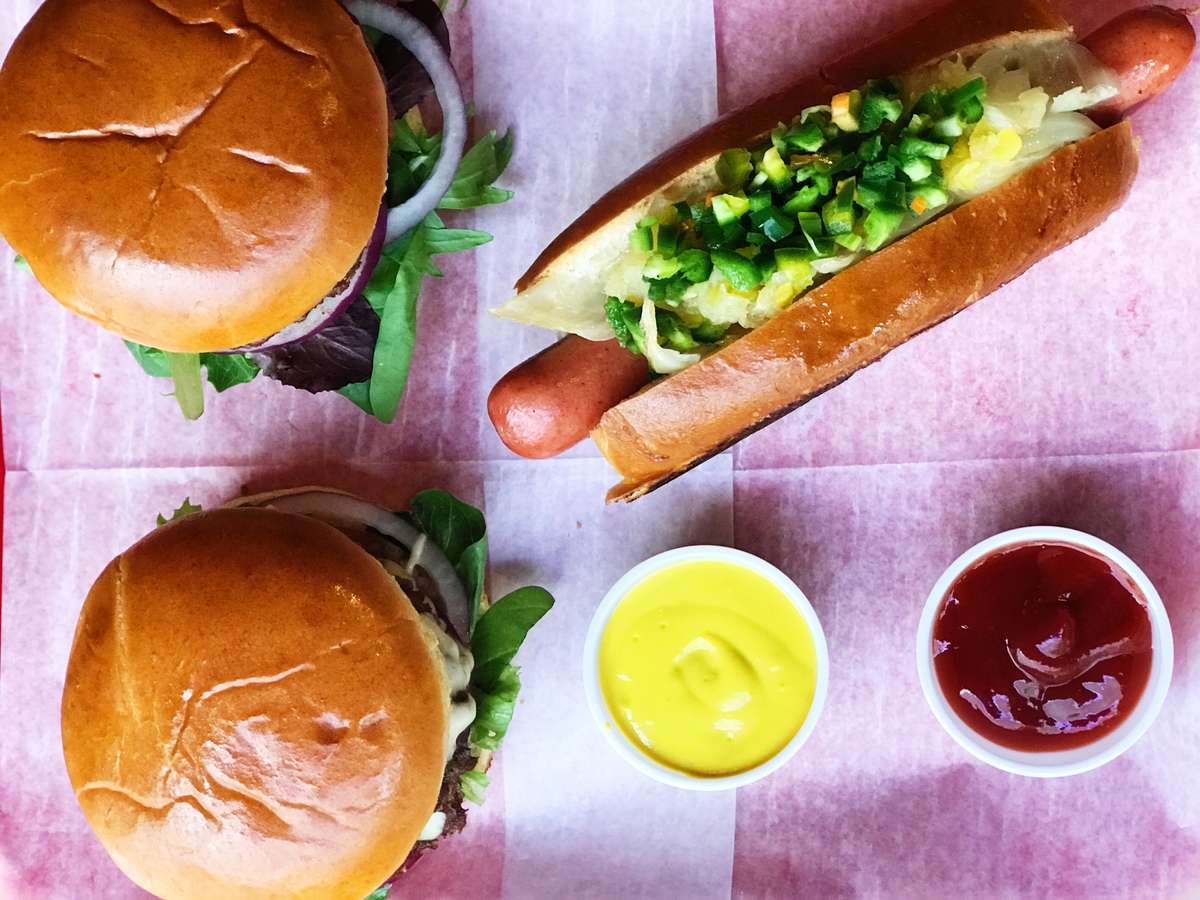 Burgers and hotdogs