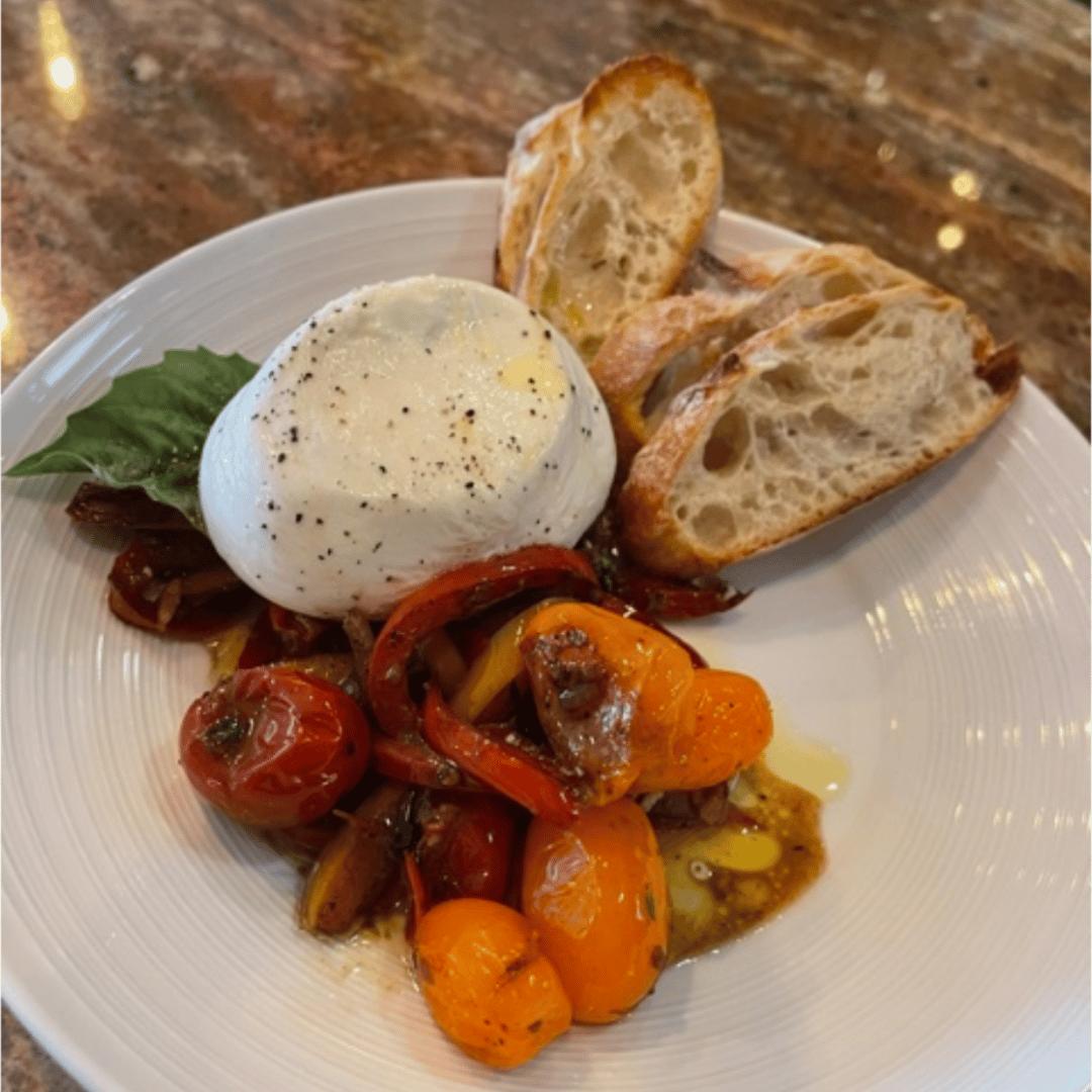 Burrata with Pepperonata & Tomatoes