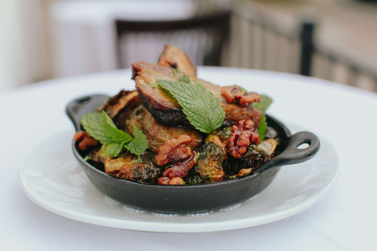 Crispy Kurobuta Pork Belly with Cast Iron Roasted Brussels Sprouts