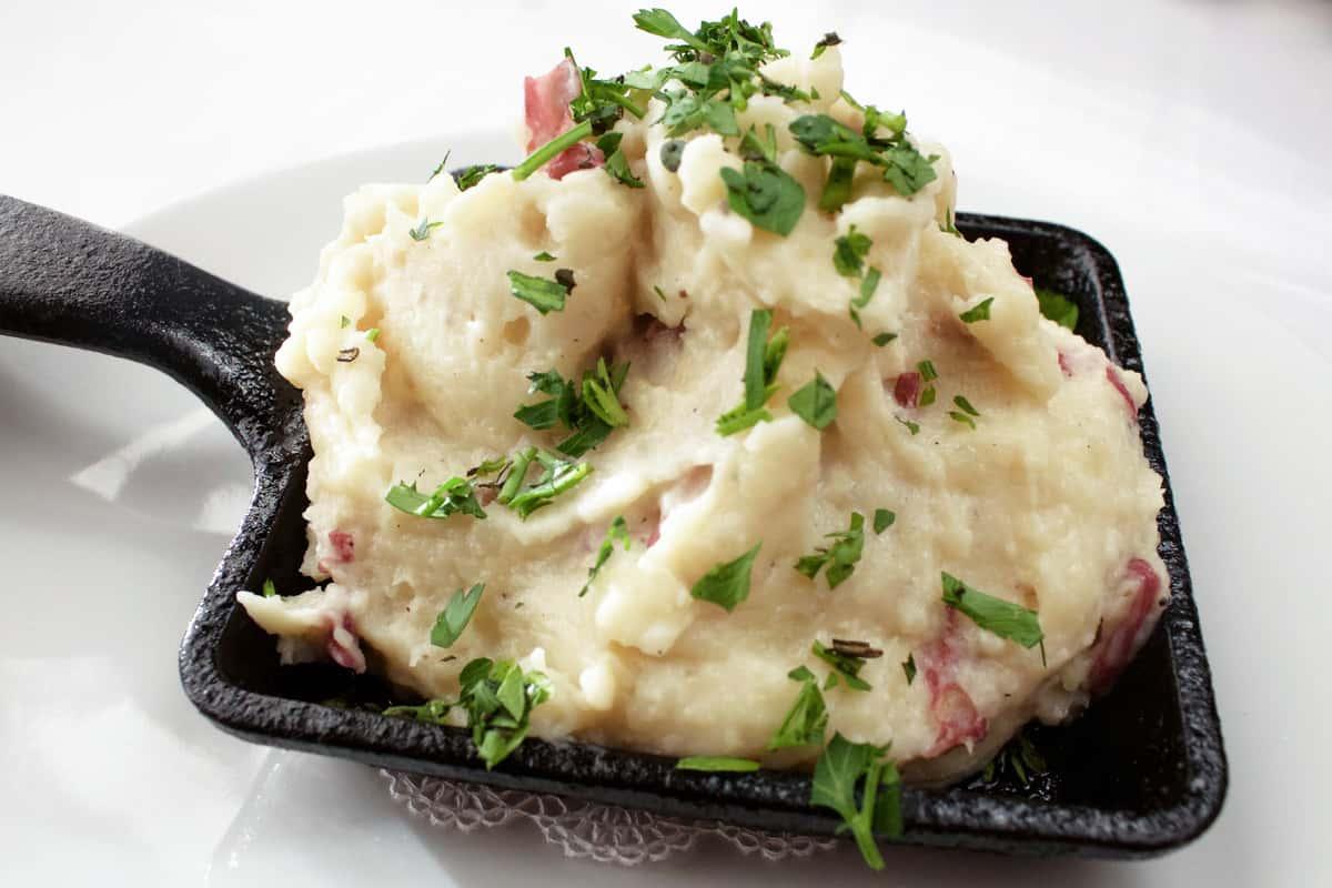 Close up of a Garlic & Creme Fraiche Mashed Red Potatoes dish