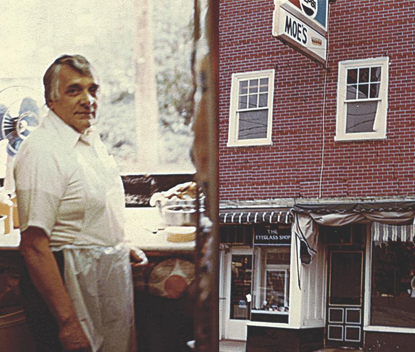 Moe's founder in front of restaurant