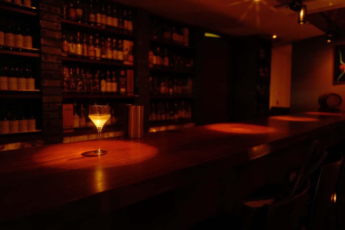 cocktail on dim bar