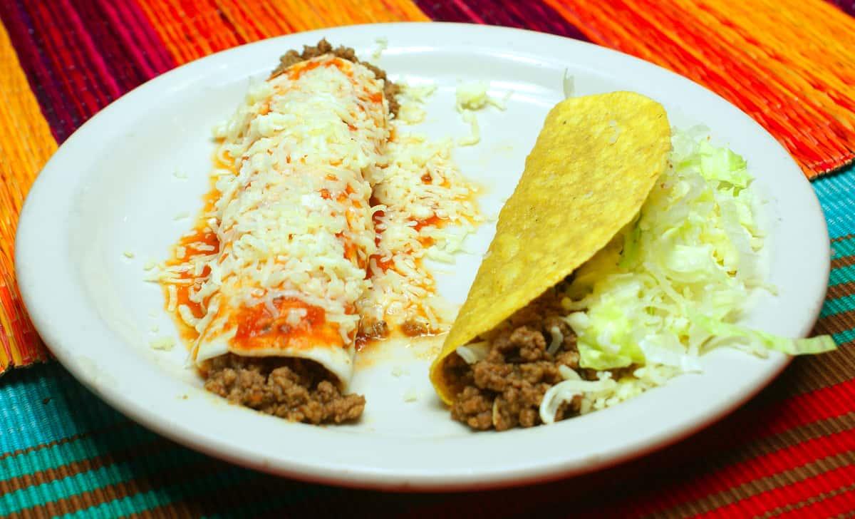 1. One taco with one burrito or enchilada