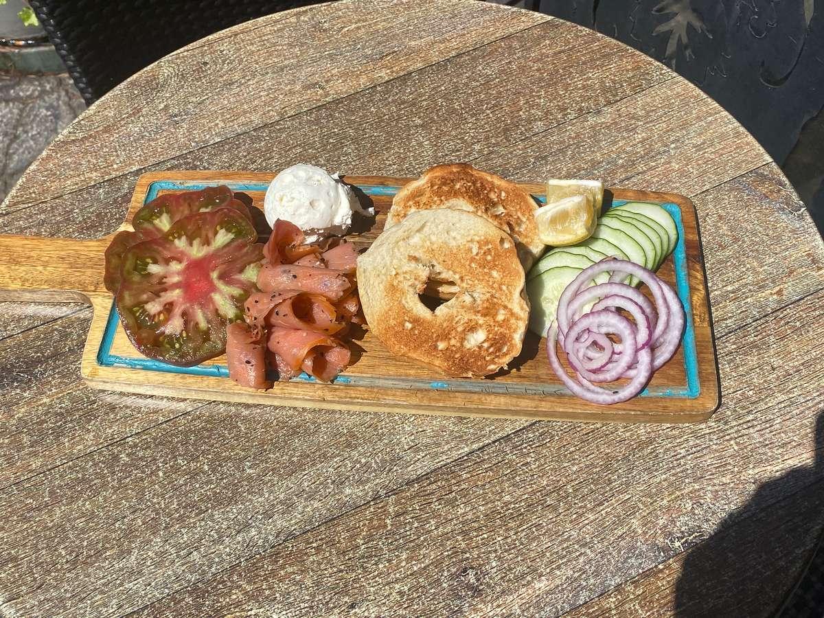 Salmon Lox and Bagel Board