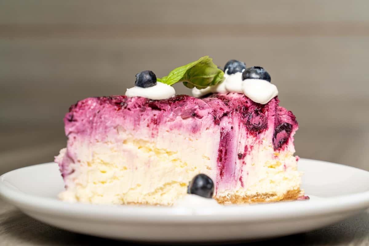 Blueberry basil cheesecake