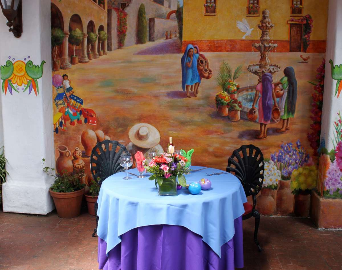 table and mural
