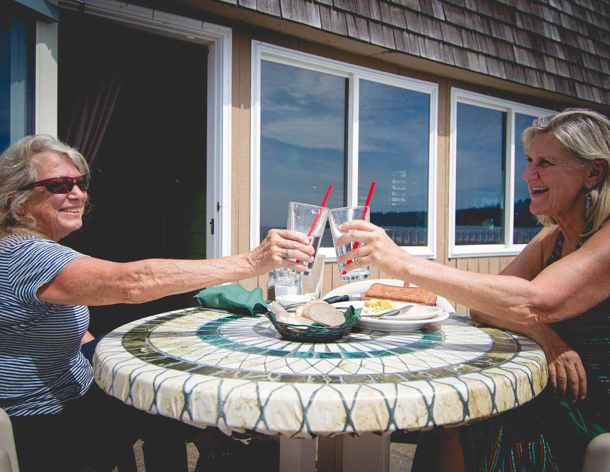women cheers outside