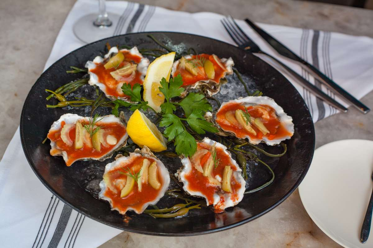 Bloody Mary Oysters On the Half Shell