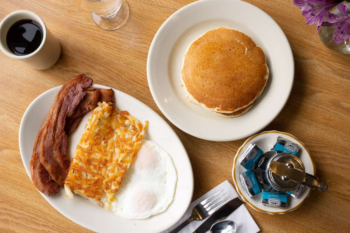eggs any style with a side of pancakes