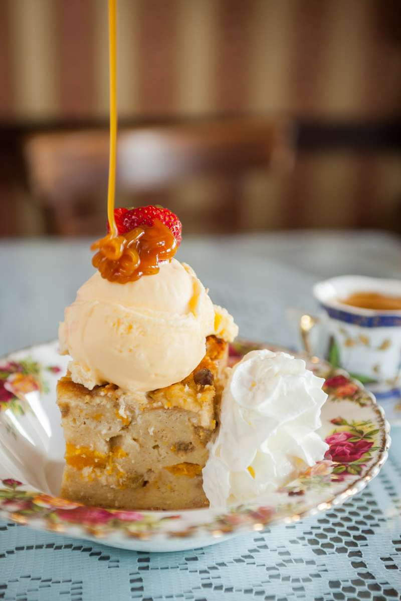 Peach & White Chocolate Bread Pudding