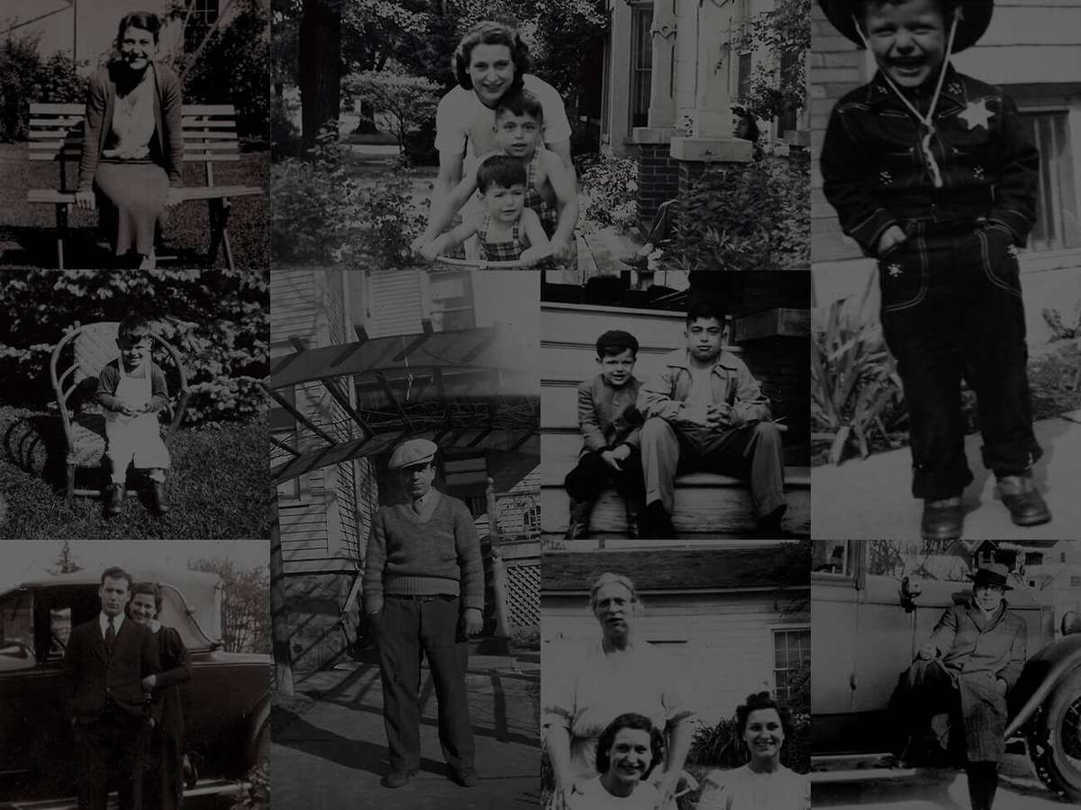 old black and white collage photo of Comella's family members
