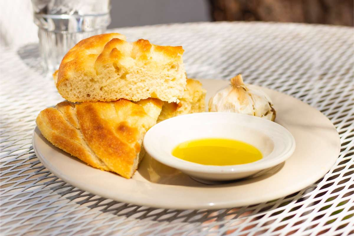 Housemade Focaccia with Extra Virgin Olive Oil and Roast Garlic