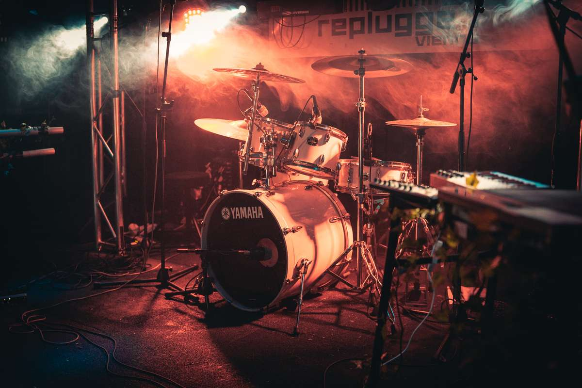 event stage with drum set