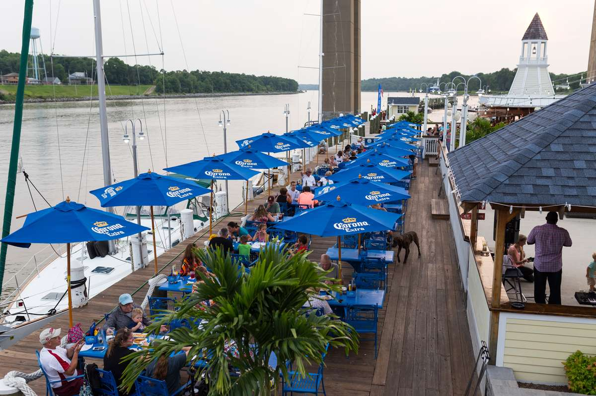 Dockside Dining on the Deck at Schaefer's Canal House in Chesapeake City, MD