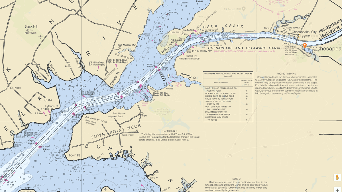 Nautical Chart of the C&D Canal #12277
