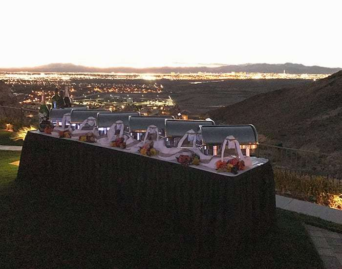 table set up at wedding
