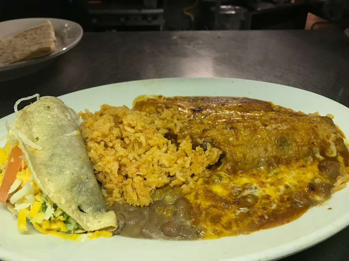L-1. Ground Beef Taco and Cheese Enchilada