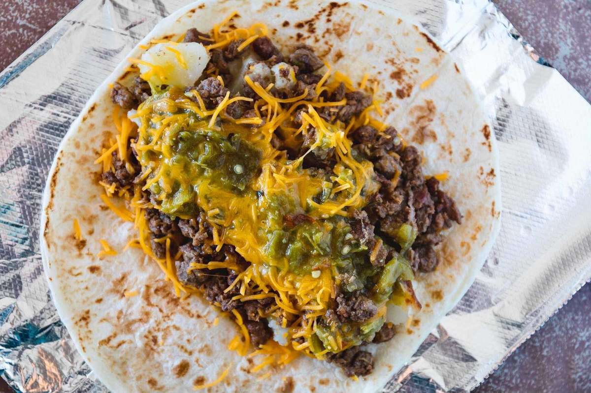 3. Ground Beef, Potatoes, Cheese and Green Chile