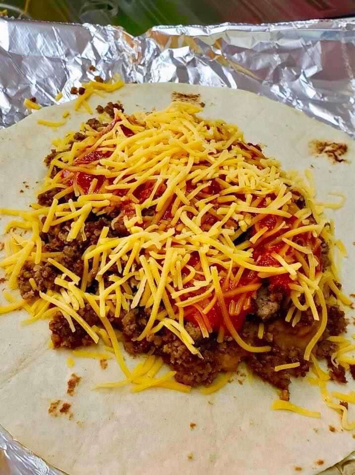7. Ground Beef, Beans, Cheese and Red Chile