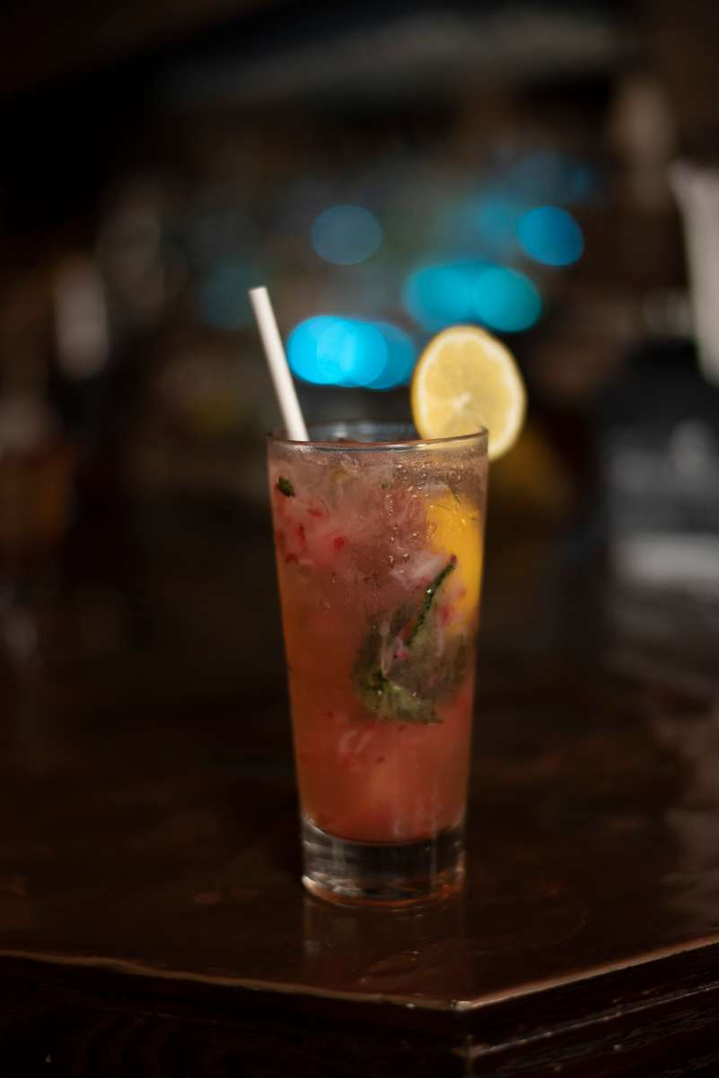 Berryessa - Titos vodka , strawberry, lemon, mint, and soda.