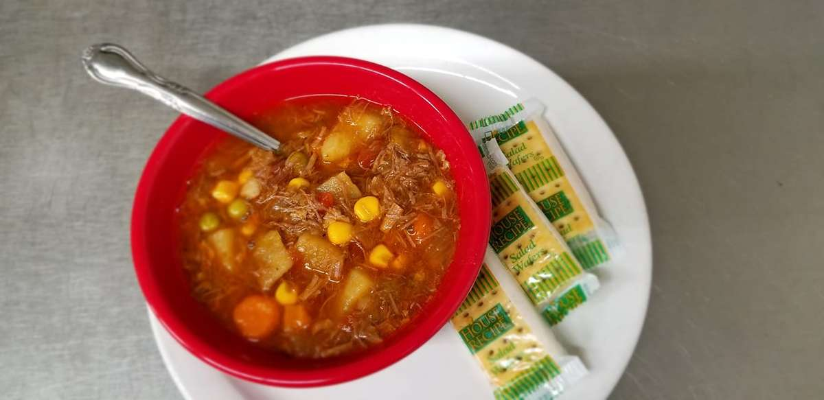 Mary's Stew and crackers