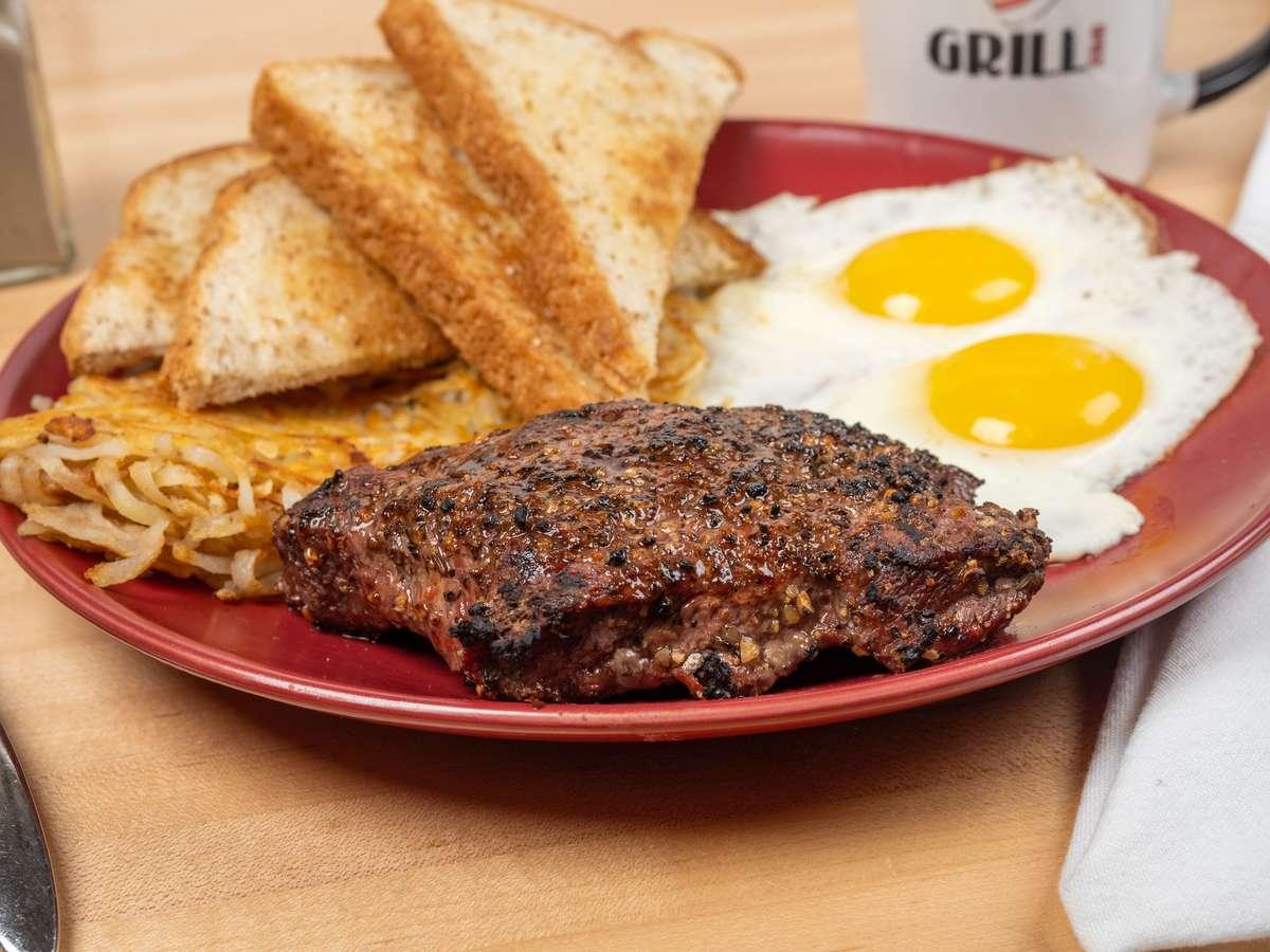 8 oz Flat Iron Steak & Eggs