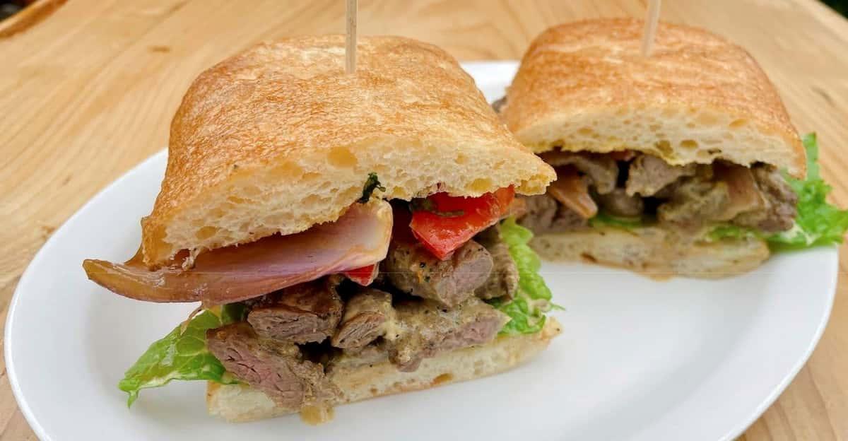 Lomo Saltado Sandwich