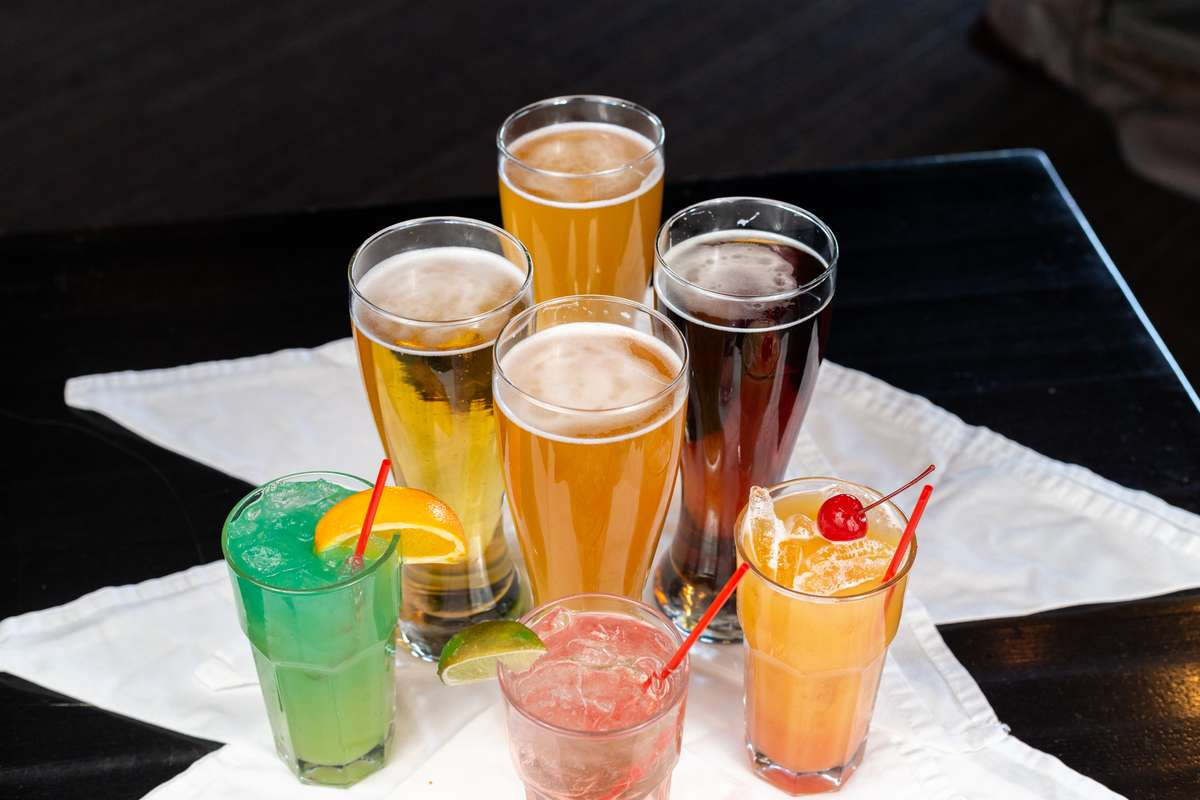 mixed drinks and beer