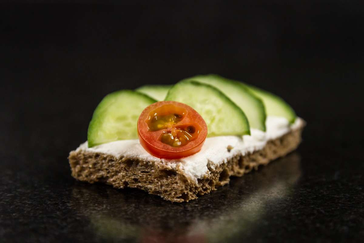 Crisp English Cucumber on Herbed Cheese with Dark Rye