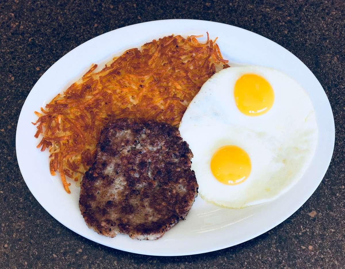 Hamburger Patty and Eggs