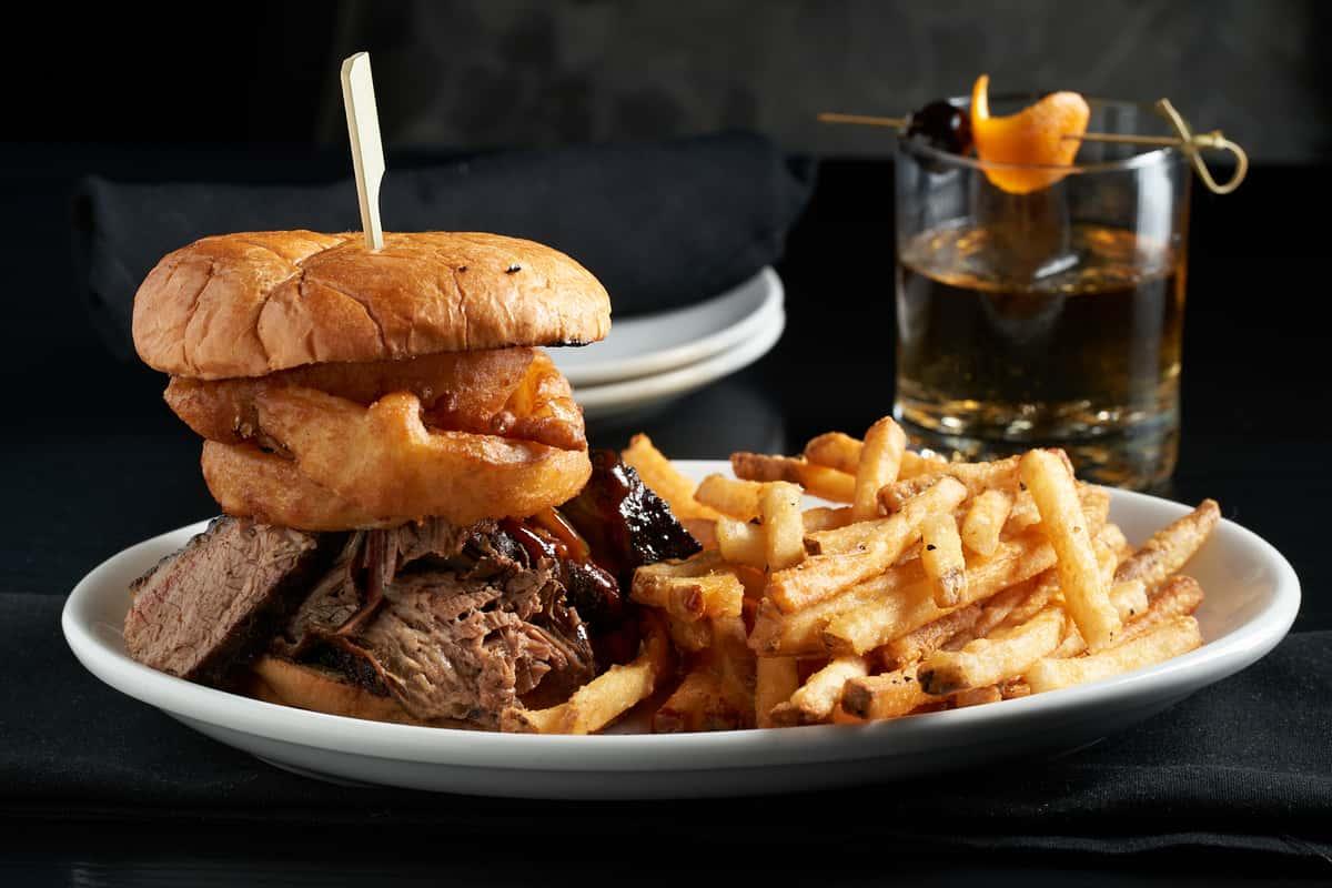 brisket sandwich and fries