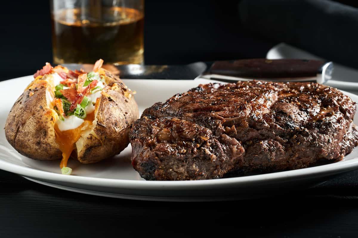 steak and loaded potato