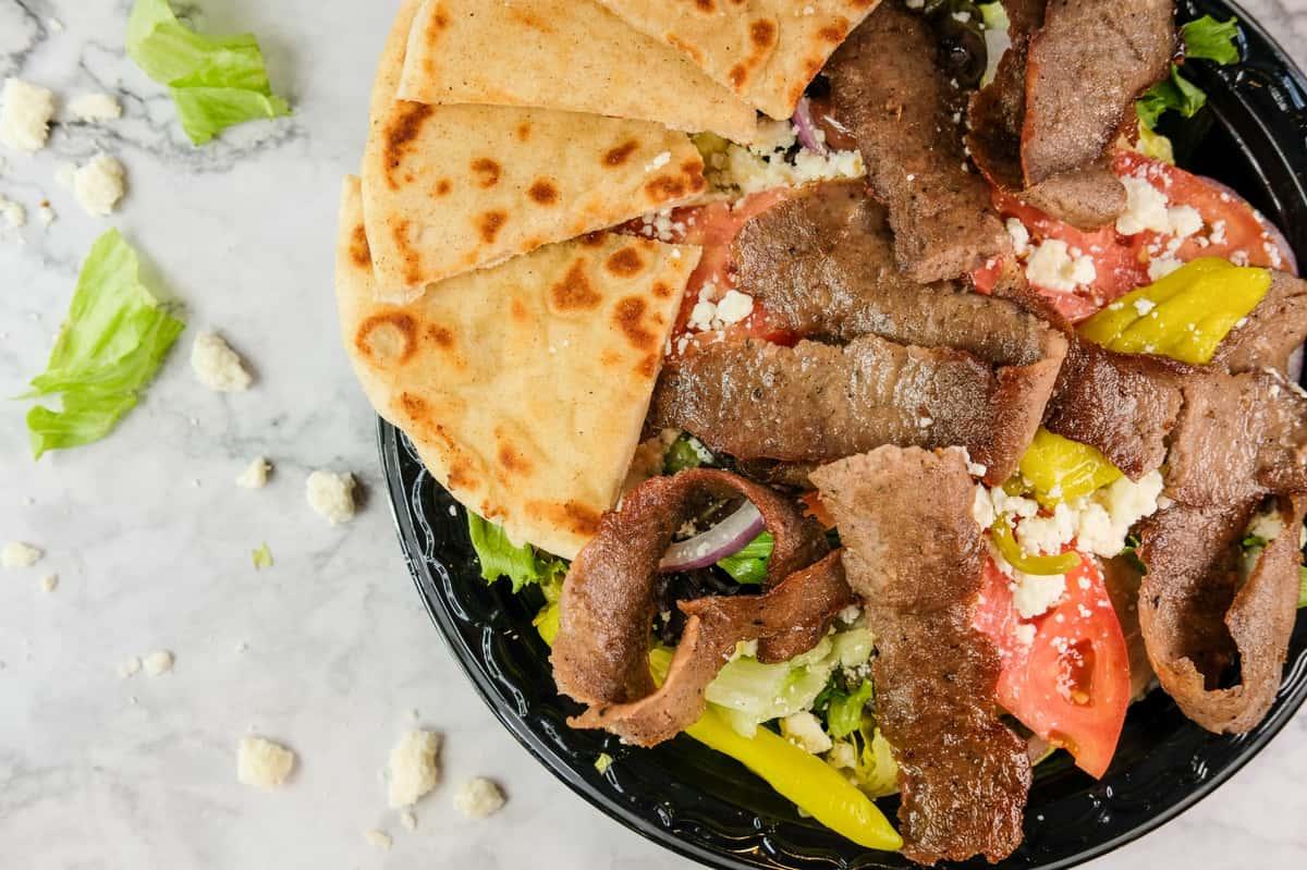 salad with gyro