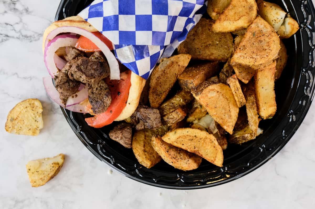 steak wrap with potatoes