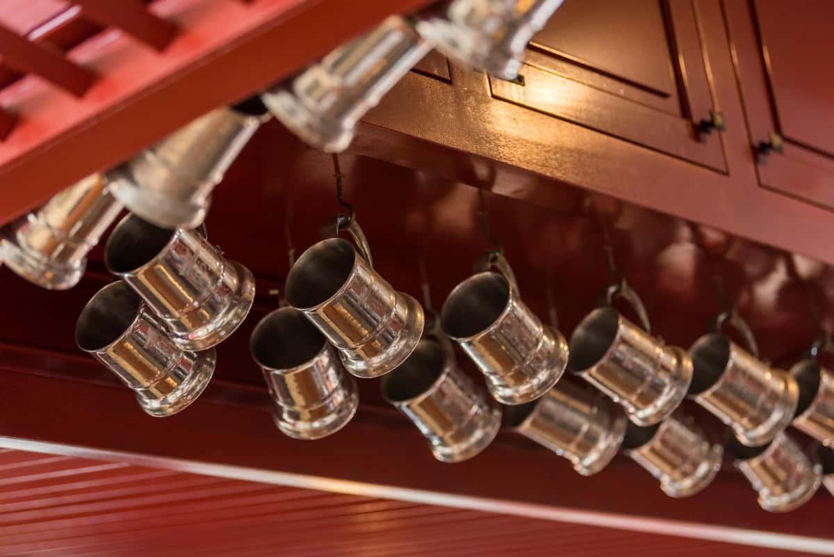 Mugs hanging in the bar for the HOF Members