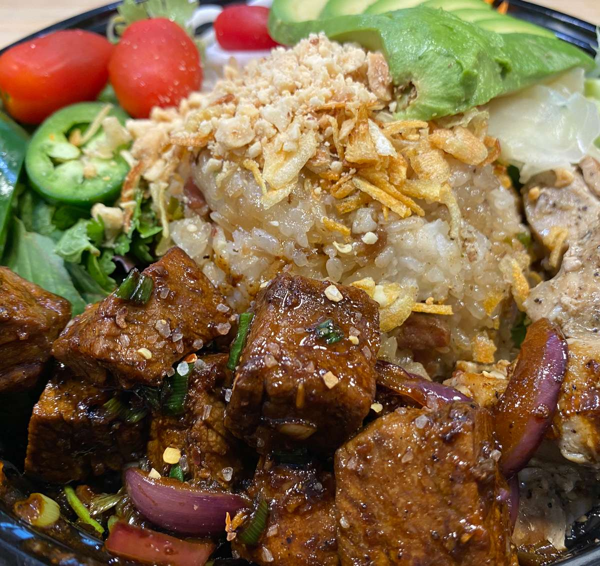 grilled beef short rib bowl with brown rice and avocado