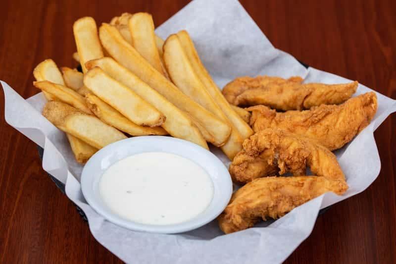 4 Hand Breaded Chicken Strips & Fries